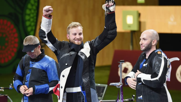 Sergey Richter celebrates winning bronze in the Men's 10m Air Rifle at the Baku 2015 European Games on June 16, 2015 in Baku, Azerbaijan. (Photo by Matthias Hangst/Getty Images for BEGOC)