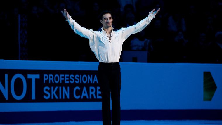Spain's Javier Fernandez celebrates after winning the 2019 European Championships
