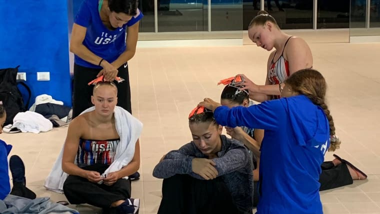 Two and a half hours before a performance the U.S. artistic team is already preparing. The price of perfection.