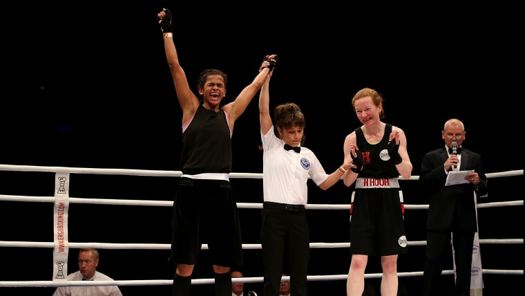 Ali securing victory at the Boxing Elite National Championships in Liverpool.