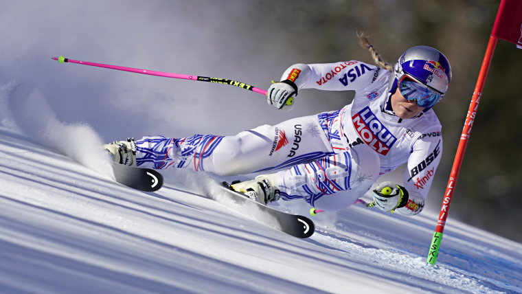 Lindsey Vonn in action during the Super G in Cortina d'Ampezzo 2019