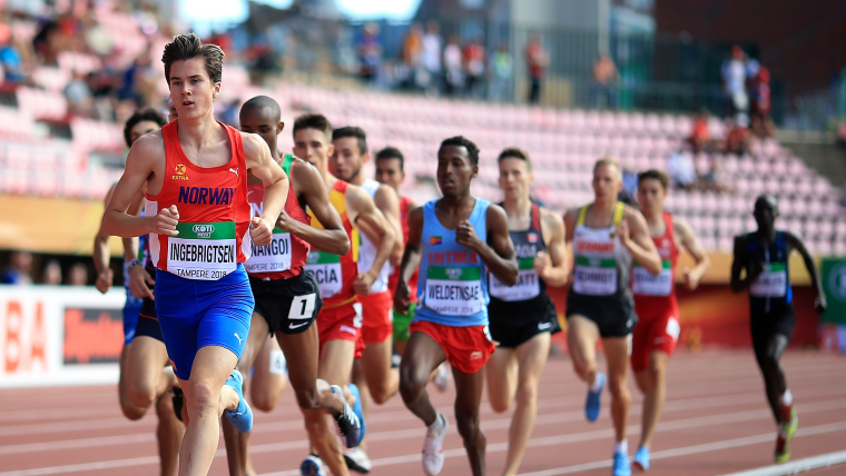 Jakob Ingebrigtsen of Norway leads the field during the men's 1500m heats at he IAAF World U20 Championships on July 10, 2018.  (Photo by Ben Hoskins/Getty Images for IAAF)