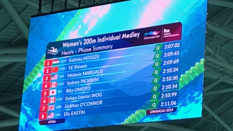 The Women's 200m IM qualifiers