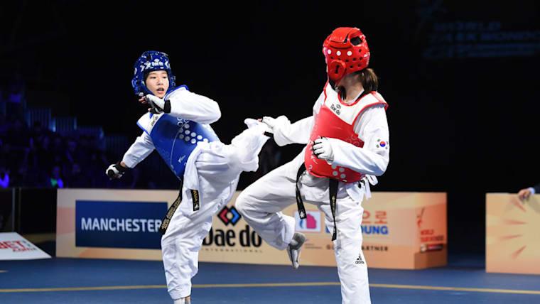 山田美諭と対戦するシム・ジェヨン(画像はWTF世界テコンドーグランプリ2018)