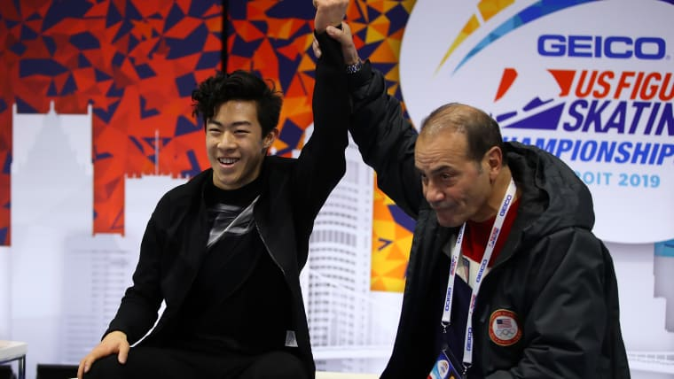 Nathan Chen with coach Rafael Arutunian after his free skate to win the 2019 U.S. National Championships in Detroit