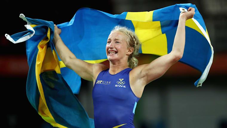 Sweden's Sofia Mattsson celebrates winning 53kg bronze at Rio 2016