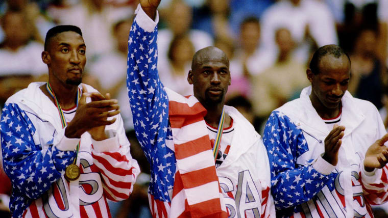 Members of the USA 'Dream Team' flaunt their gold medal at the 1992 Barcelona Olympics