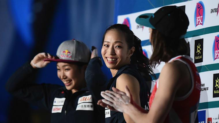 野口啓代(中央)は日本のクラミング界をリードしてきた先駆者。東京五輪出場の有力候補だ