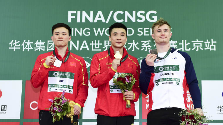 World Series Beijing 3m springboard podium (L-R): runner-up Xie Siyi, winner Cao Yuan, third-placed Jack Laugher