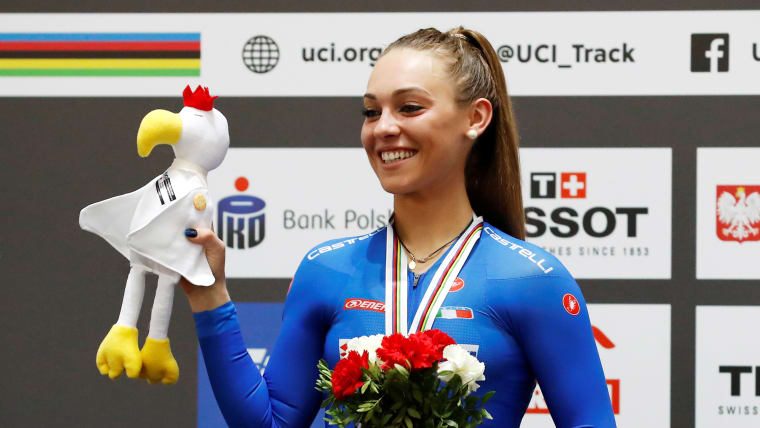 Letizia Paternoster celebrates her omnium silver at the 2019 UCI Track World Championships in Pruszkow, Poland
