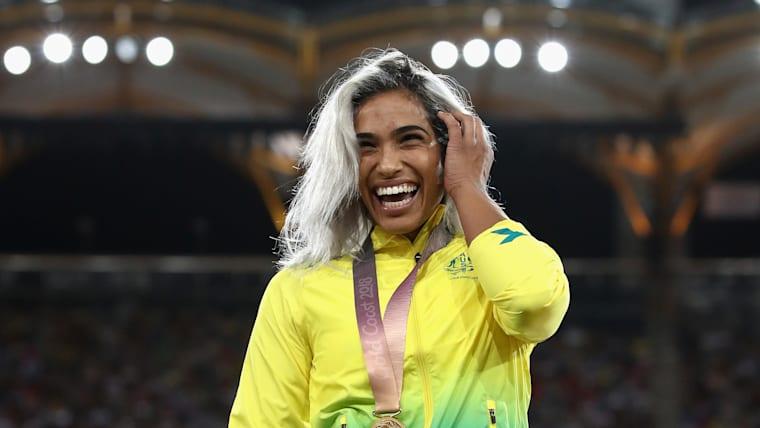 Madison de Rozario celebrates at Commonwealth Games 2018