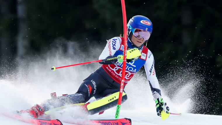 Mikaela Shiffrin goes quickest on first run of the World Cup slalom in Semmering, Austria