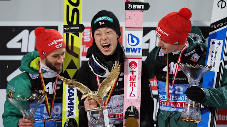2019 Four Hills final podium (L-R): runner-up Markus Eisenbichler, Ryoyu Kobayashi, third-placed Stephan Leyhe