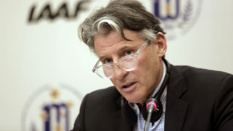 IAAF president Sebastian Coe speaks during the 214th IAAF Council in Buenos Aires in July 2018