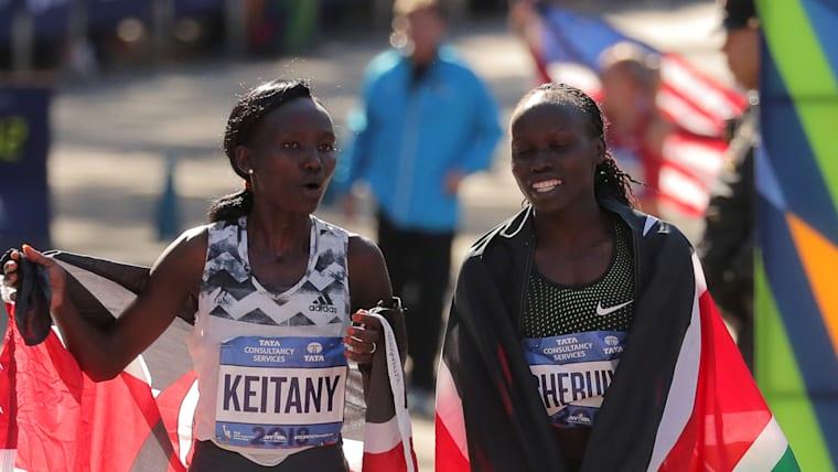 2018 New York City marathon winner Mary Keitany with runner-up Vivian Cheruiyot