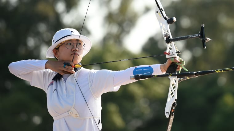 San An in action in the semifinal during the Ready Steady Tokyo - Archery Tokyo 2020 Olympic Games test event.