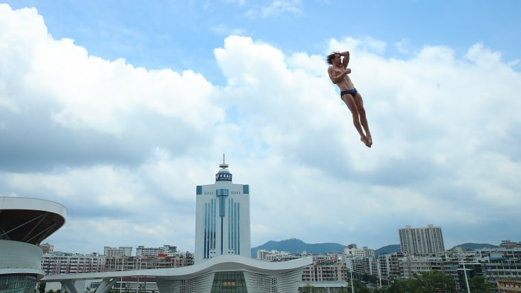 2015 World champion Gary Hunt in action at the FINA High Diving World Cup in Zhaoqing, China.