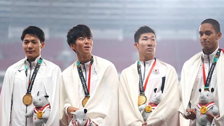 苦しんだ2018年だが、アジア大会では4×100メートルリレーで金メダルを獲得。第二走者を務めた