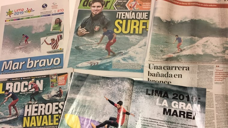 Peru's newspapers all at sea over surfing success at Lima 2019.