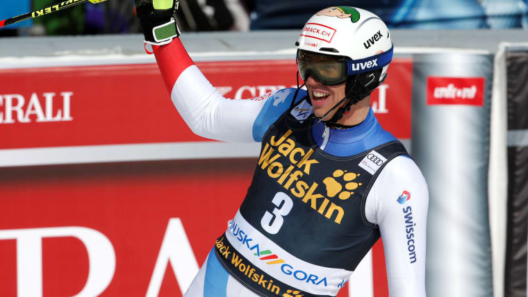 Rene Zenhaeusern reacts after his second run in the Kranjska Gora slalom