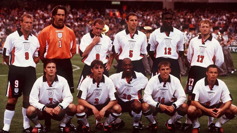 England team v France at 'Le Tournoi' in June 1997 with Gareth Southgate (#5) in back row and Phil Neville in front (#14)