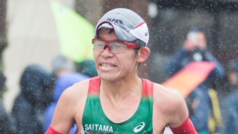 Yuki Kawauchi on his way to winning Boston Marathon 2018