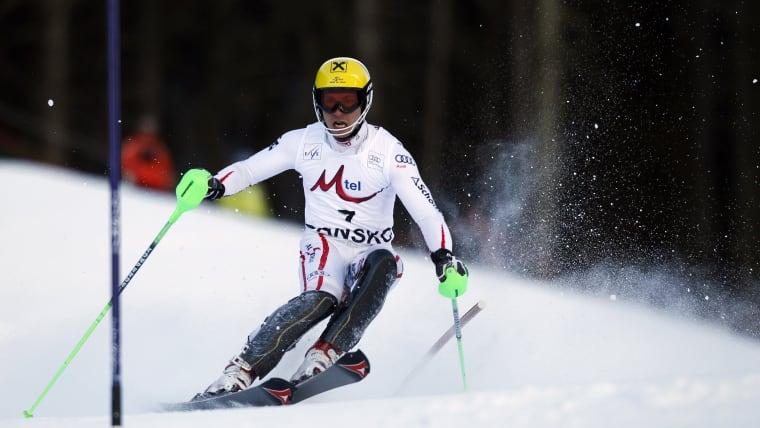 Marcel Hirscher on his way to his sixth World Cup win in eight races in the Bansko slalom on 19 February 2012