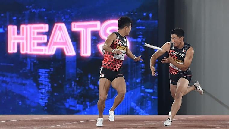 男子4×100mリレー、日本はバトンミスで失格となった/AFP=時事
