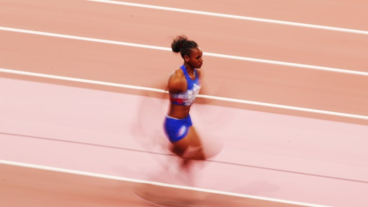 Adriana Rodríguez of Cuba becomes a blur in her long jump run-up. (Photo by Christian Petersen/Getty Images)