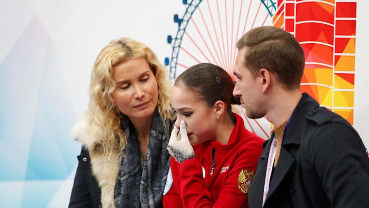 Alina Zagitova with coach Eteri Tutberidze (L) after her free skate at the European Championships in Minsk
