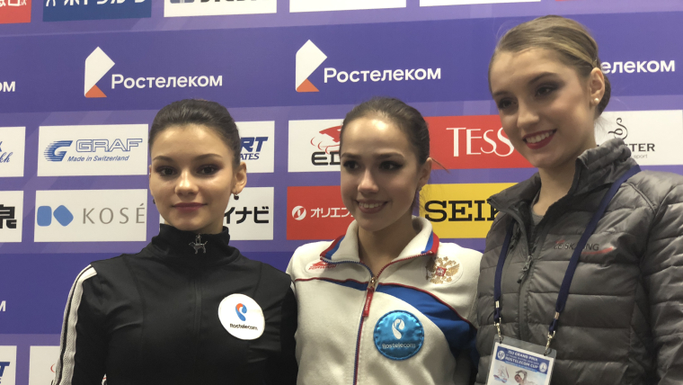 Rostelecom Cup short program 1-2-3 (L-R): second-placed Sofia Samodurova, Alina Zagitova, third-placed Alexia Paganini