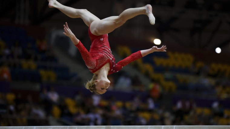 Riley McCusker performs on the balance beam during the Team final