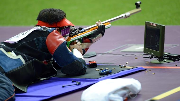 Joydeep Karmakar during the 50m Rifle Prone event at the 2012 London Olympics