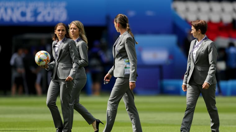 2019 FIFA Women's World Cup Final officials (L-R): referee Stephanie Frappart, assistant Manuela Nicolosi, reserve Anna-Marie Keighley, assistant Michelle O'Neill