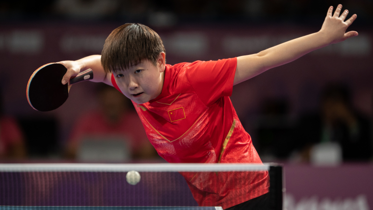 Sun Yingsha eyes the gold in team competition (Photo: Simon Bruty for OIS/IOC)