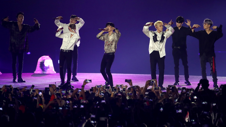 South Korean boy band iKON perform during the Closing Ceremony.