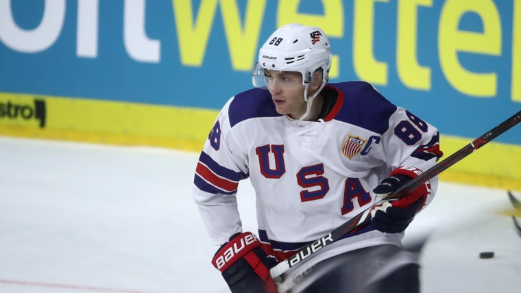 Patrick Kane captaining the United States in an international game (Photo by Alex Grimm/Getty Images)