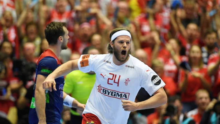 Mikkel Hansen celebrates a goal in Denmark's win over Norway in the 2019 World Men's Handball Championship Final in Herning