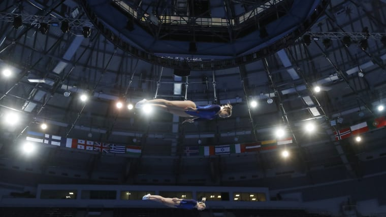Some of the shots from the trampoline sync final are almost as spectacular as the event itself. This is Portugal's Silvia Saiote and Beatriz Martins in action. REUTERS/Vasily Fedosenko