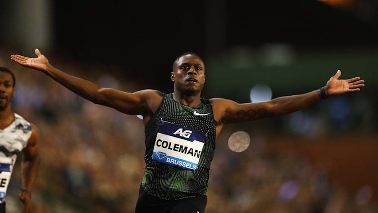 Christian Coleman celebrates winning the 2018 Diamond League Final 100m in Brussels