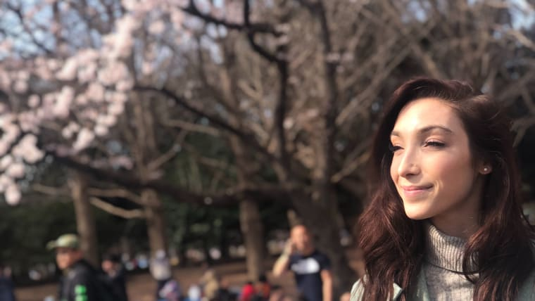Meryl Davis in Yoyogi Park as cherry blossoms bloom
