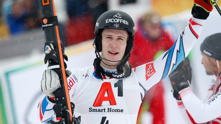 Clement Noel celebrates his second World Cup slalom victory at Kitzbuehel on 26th January 2019