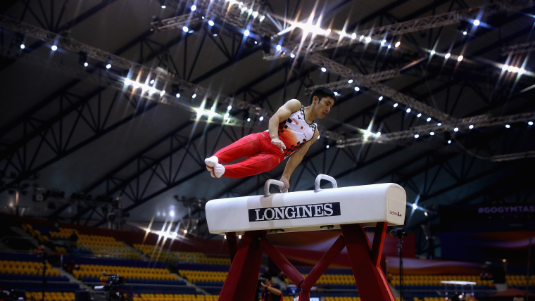 Kenzo Shirai performs on the pommel horse in qualification at the World Artistic Gymnastics Championships in Doha