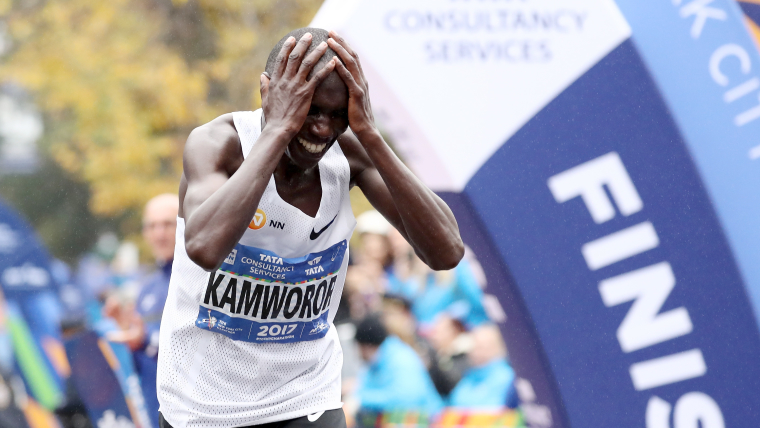 Geoffrey Kamworor reacts after securing his first marathon victory at the 2017 NYC Marathon