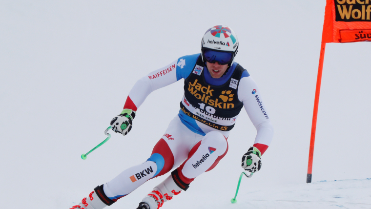 Marc Gisin training on Thursday for the men's downhill at Val Gardena