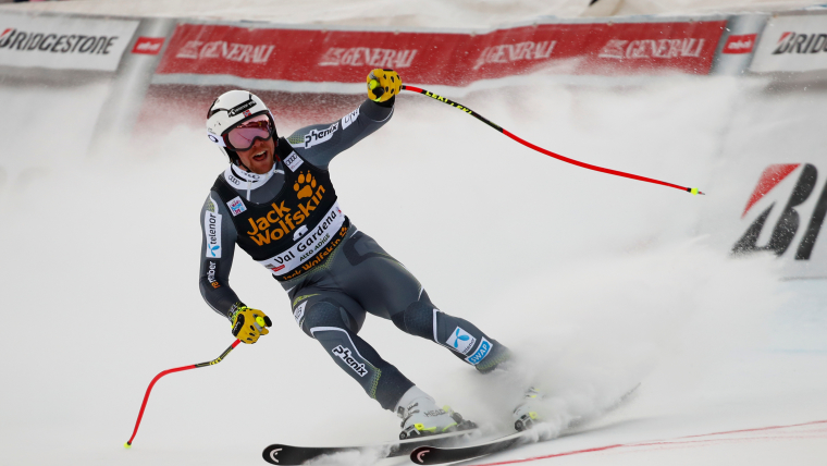 Aleksander Aamodt Kilde celebrates taking the lead in the Val Gardena downhill