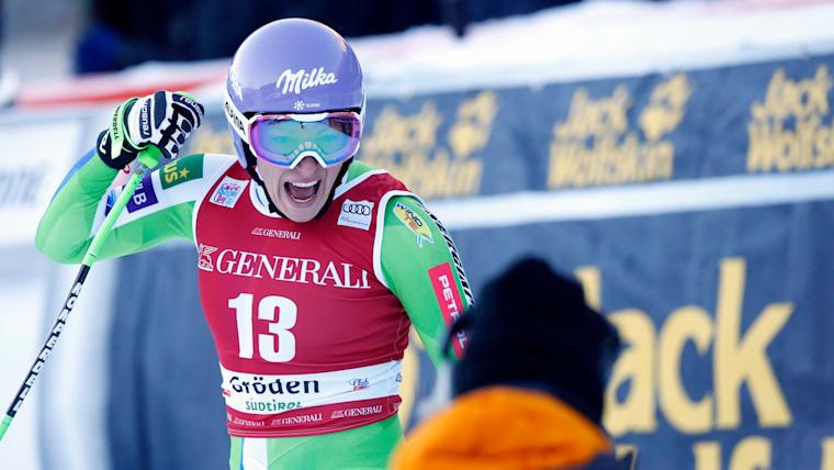 Ilka Stuhec reacts to her winning run in the Val Gardena downhill