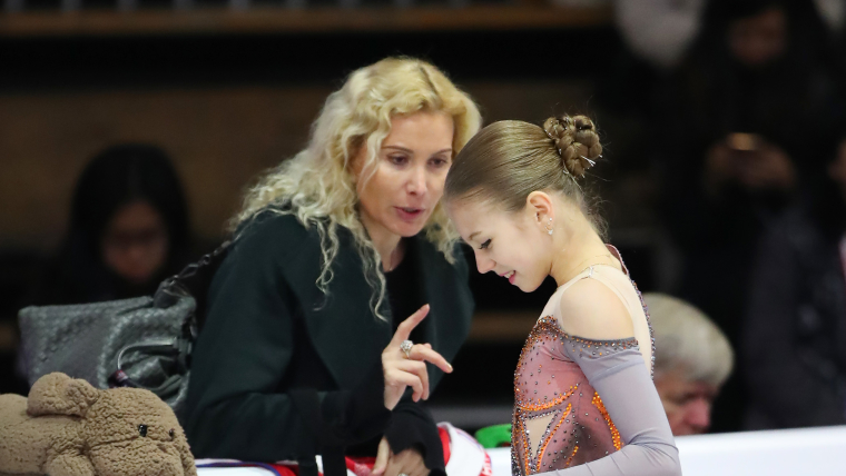World junior champion Alexandra Trusova with coach Eteri Tutberidze at the Junior Grand Prix Final in Vancouver