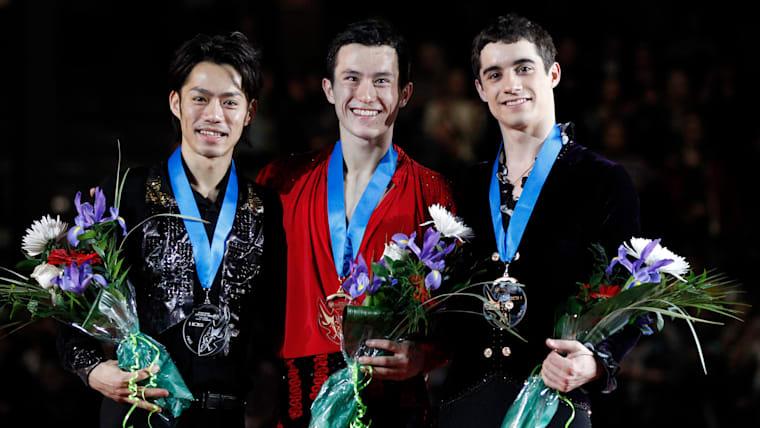 2011-12 ISU Grand Prix Final podium (L-R): runner-up Daisuke Takahashi, winner Patrick Chan, third-placed Javier Fernandez