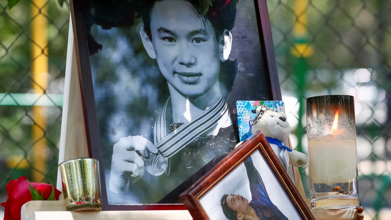 A memorial to Denis Ten in Almaty, Kazakhstan the day after his murder in July 2018